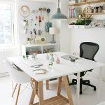 Working Space, White Seamless Floor, White Table, White Modern Chair, Black Office Chair, White Shelves, Grey Pendant, Floaing Shelves