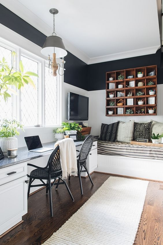 working space, wooden floor, white black wall, glass table, white cabinet, black rattan chair, grey pendant, white bench, stripe cushion, floating shelves