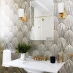 Bathroom, Black White Geomterical Lines Wallpaper, Sconces, White Marble Floating Vanity, Square Miror