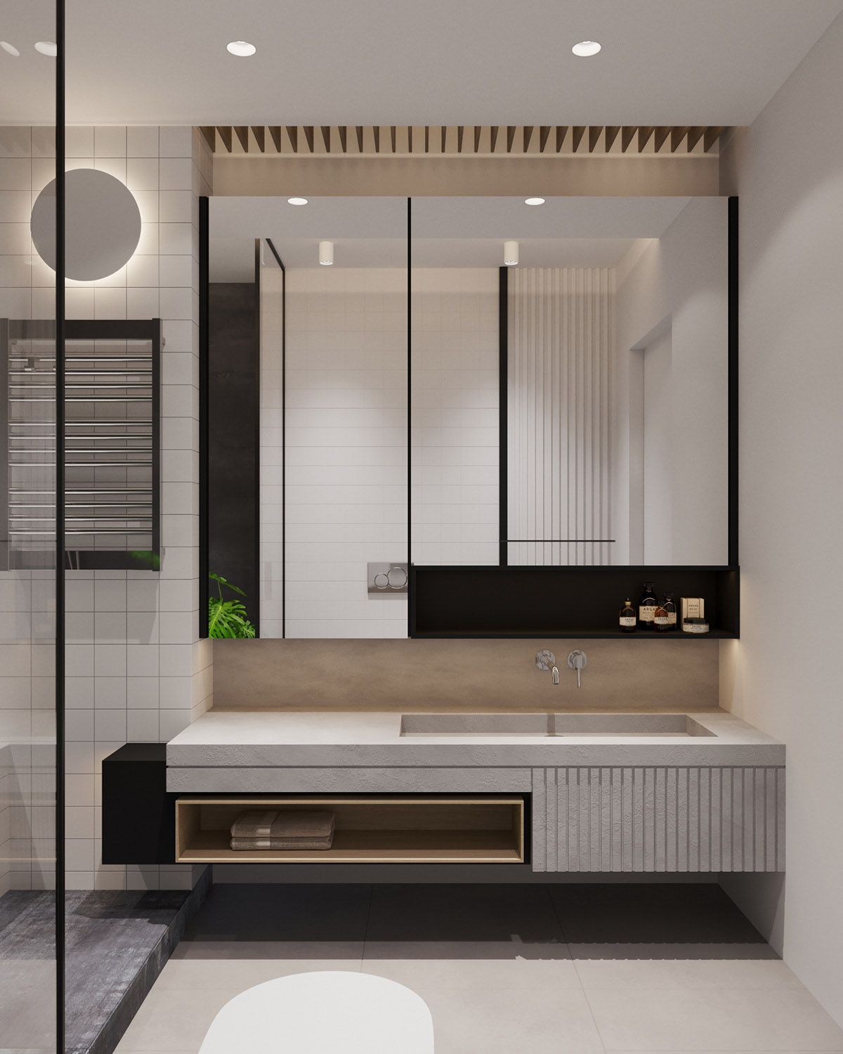bathroom, cream floor, cream wall, grey floating vanity with shelves, mirror, glass partition