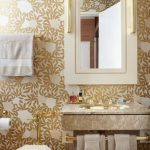Bathroom, Golden Flocks Wallpaper, White Frame Mirror Cabinet, Marble Floating Sink, White Toilet