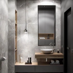 Bathroom, Grey Floor Tiles, Grey Wall Tiles, Grey Floating Vanity, Wooden Floating Vanity, White Sink, Indented Shelves With Wooden Cover