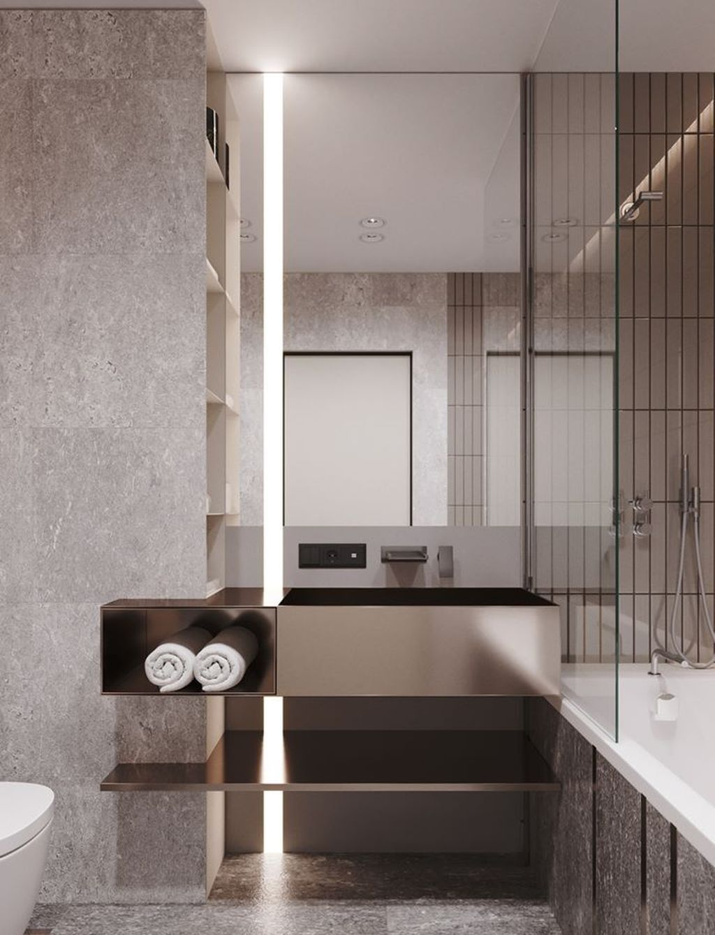 bathroom, grey marble floor, grey marble wall, silver floating sink, copper floating shelves, white tub