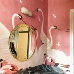 Bathroom, Pink Swan Wall, Black Marble Counter Top Vanity, Round Golden Mirror