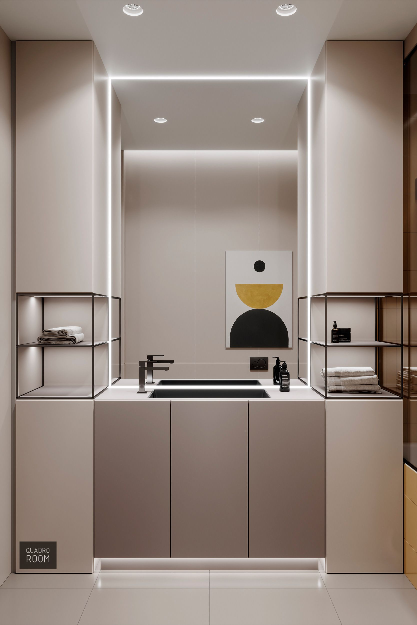bathroom vanity, cream floor tiles, neutral cream cabinet, black metal shelves, miror with LED lights