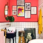 Bathroom, White Hexagonal Floor Tiles, White Square Wall Tiles, Neon Peach Wall, White Tub, Black Vanity Table