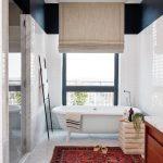 Bathroom, White Hexagonal Floor Tiles, White Subway Wall Tiles, White Tub, Wooden Cabinet, Rug