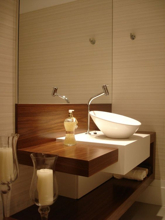 bathroom, wooden floating vanity, white sink, neutral wooden wall