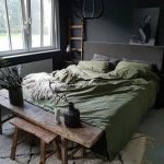 Bedding, Grey Seamless Floor, White Rug, Green Bedding, Wooden Bench, Dark Grey Wall, Black Pendant, Glass Window