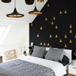 Bedroom, Black Accent Wall, White Wall, Black Pendants With Golden Inside, Golden Details, White Bedding, White Side Table