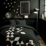 Bedroom, Black Accent Wall, Wooden Floor, Black Wainscoting, Black Bedding, Golden Floor Lamp