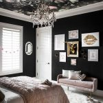 Bedroom, Black Wall, White Floor, Pink Velvet Bench, Chandelier, Rose Black Accent Ceiling