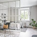 Bedroom, Marble Floor, Grey Wall, White Framed Glass Partition, Black Chair, Glass Window