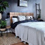 Bedroom, Wooden Floor, Black Wall, Wooden Headboard, Rattan Mat