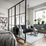 Bedroom, Wooden Floor, White Wall, Black Sofa, Nesting Coffee Table, Grey Chair, Glass Pendant, Grey Rug, Bed