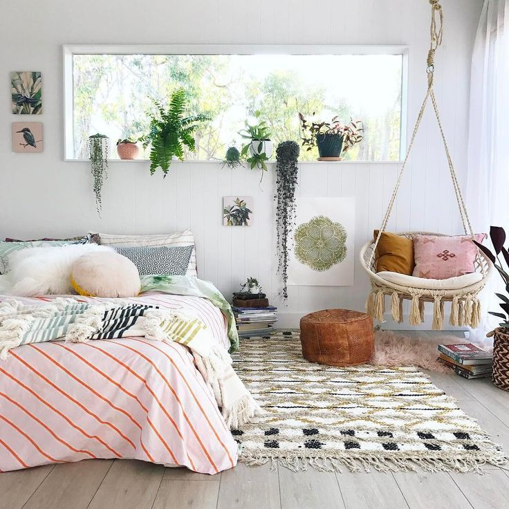 bedroom, wooden floor, white wooden wall, rattan swing, glass rectangular glass window