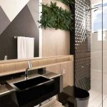Black Bathroom Vanity Counter, Wooden Backsplash, Wooden Cabinet, Black Toilet, Black Textured Shower Wall, Plants Wall Accessories