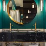 Black Marble Vanity, Green Wall, Brown Marble, Glass Pendants, Half Round Mirror, Black Indented Shelves, Golden Frame