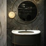 Black Wooden Accent Wall, Cream Marble Wall, Black Round Vanity, White Marble Top, Round Mirror With Round Ring