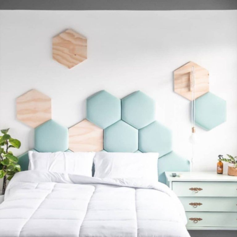 blue hexagonal accent, wooden hexagonal accent, pendant, light blue cabinet, bed