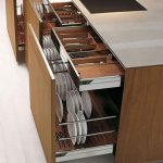 Brown Wooden Kitchen Cabinet, Drawers For Knives, Cabinet For Plates