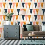 Colorful Triangle Wallpaper, Matchign Patterned Floor, Grey Cabinet, Beige Sofa