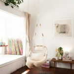 Corner Room, White Wall, Dark Wooden Floor, White Window Seat, Rattan Swing, Wooden Bench