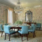 Dining Room, Golden Wall, Mirror, Blue Leather Chair, Patterned Rug, Crystal Chandelier