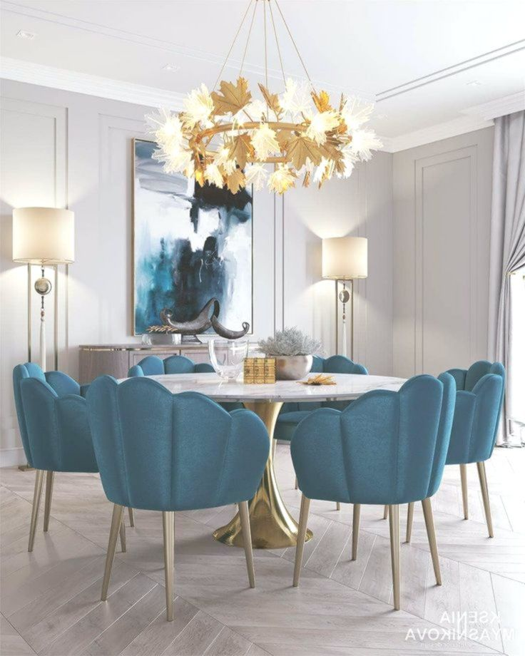 dining room, grey floor tiles, white wall, blue shell chair, white marble tulip table, golden chandelier