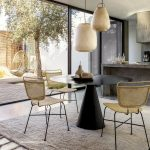 Dining Room, Seamless Floor, Rug, Black Round Table, Rattan Chairs, Rattan Pendants, Grey Concrete Kitchen