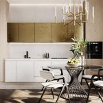 Dining Room, White Kitchen Cabinet, Golden Top Cabinet, Golden Chandelier, Glass Round Table, Modern Chairs