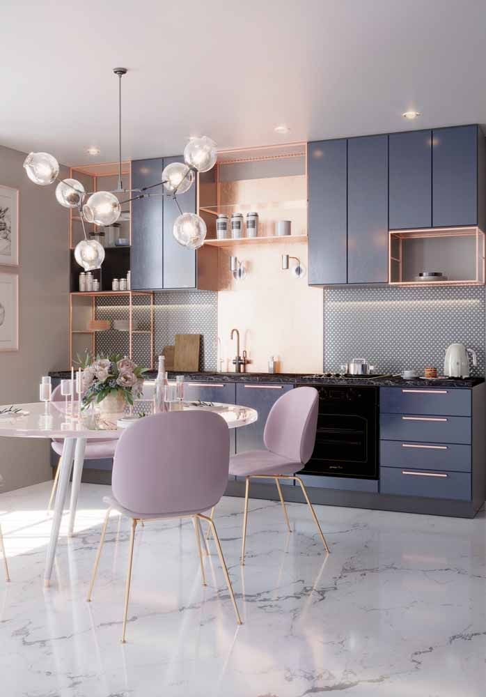 dining room, white marble floor, white ceiling, grey wall, blue grey cabinet, modern chandelier