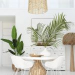 Dining Room, White Marble Floor, White Plank Wall, Rattan Pendant, White Round Table, White Rattan Chairs, White Wooden Cabinet