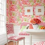 Dining Room, Wooden Floor, Pink Flower Wall, White Table, Pink White Chairs And Bench