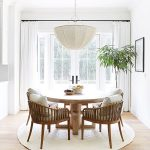 Dining Room, Wooden Floor, White Wall, Wooden Chairs With Rattan, Wooden Round Table, White Pendant, White Curtain