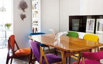 dining room, wooden floor, white wall, wooden tabe, wooden chairs with colorful cushion