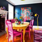 Dining Room, Wooden Floor, Yellow Table, Pink Chairs, Yellow Floor Lamp, Pink Patterned Rug