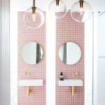 Floating White Sinks, Round Mirror, Pink Tiny Square Accent Tiles, Clear Ball Pendants