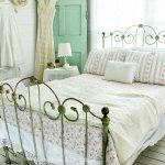 Green Metal Bed Frame, White Wooden Shiplanks, White Wooden Floor, White Side Table, White Table Lamp