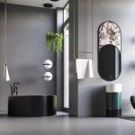 Grey Bathroom, Black Round Tub, Black Green Round Vanity With White Round Vanity, Circular Mirror, Golden Towel Rack From The Ceiling