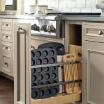 Grey Kitchen Cabinet, Sliding Storage, Vertical Storage, Black Counter Top