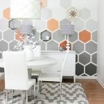 Hexagonal Accent In Grey, White, Orange, White Cabinet, White Round Table, White Chairs, Grey White Rug, Wooden Floor
