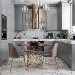 Kitchen, Grey Cabinet, Pink Chairs, Glass Round Table With Golden Legs,