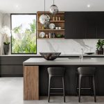 Kitchen, Seamless Grey Floor, Black Island With Grey Top, White Marble Backsplash, Wooden Floating Shelves, Black Upper Cabinet, Black Stools, Silver Ball Pendants