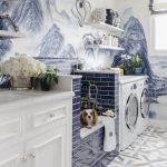 Laudry Room, Painting Wallpaper, Blue Subway Tiles, White Machines, White Wooden Shelves, Patterned Floor Tiles, White Cabinet