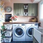 Laundry Room, Black Floor Tiles, Flowery Wallpaper, Cream Wall, Wooden Table, White Basket Shelves, Green Cabinet,