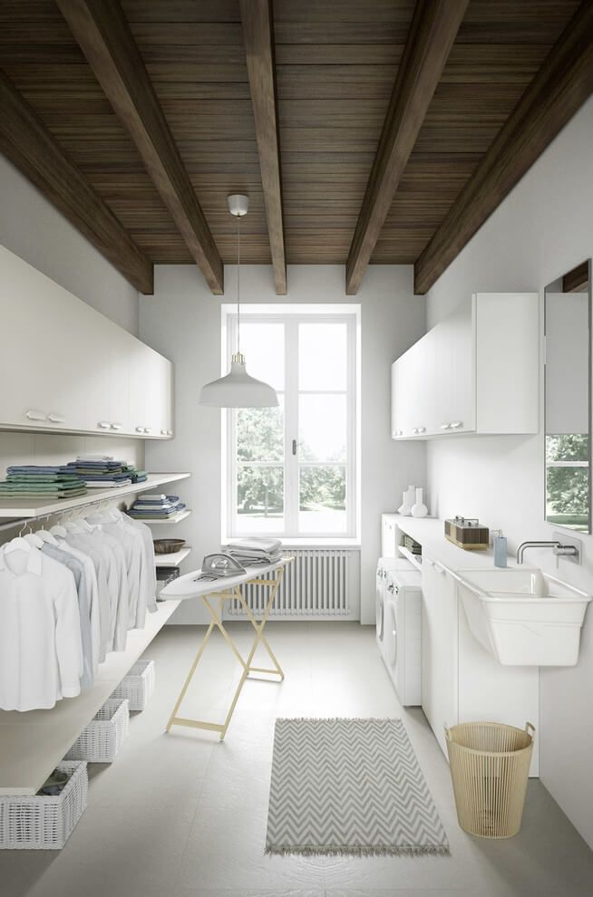 laundry room, white floor, white wall, white cabinet, white shelves, white pendants, white sink
