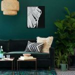 Living Room, Dark Green Wall, Dark Green Velvet Sofa, Dark Green Rug, Rattan Pendant