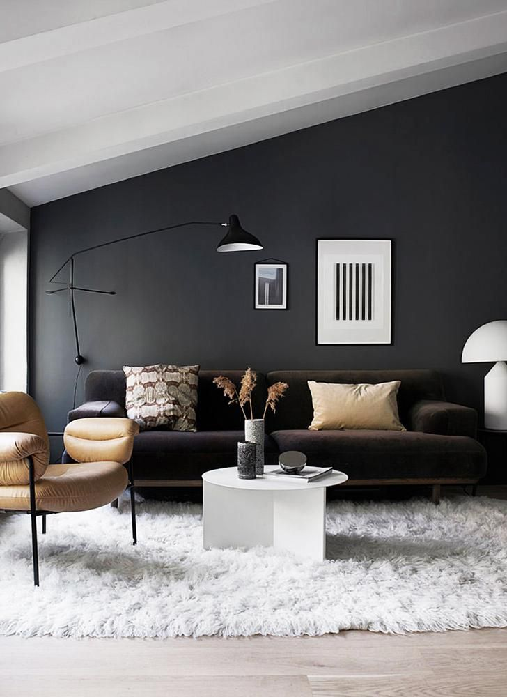 living room, vaulted ceiling, black wall, black sofa, brown chair, white rug, wooden floor, black floor lamp