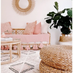 Living Room, White Patterned Rug, White Wall, Bamboo Sofa With Pink Cushion, Bamboo Coffee Table, Rattan Ottman